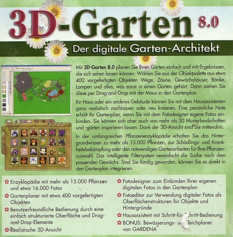 3d garten 8 0 gartenplaner pc software mit teichplaner ebay. Black Bedroom Furniture Sets. Home Design Ideas