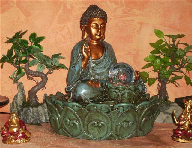 led buddha zimmerbrunnen drehende farb kugel pumpe neu ebay. Black Bedroom Furniture Sets. Home Design Ideas